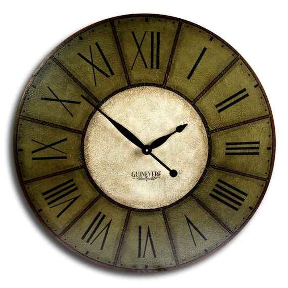 Large Wall Clock 18in Antique Style Big Wall Clock Art