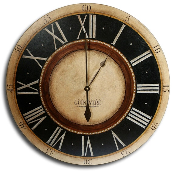 30in large antique style big wall clock art penny lane