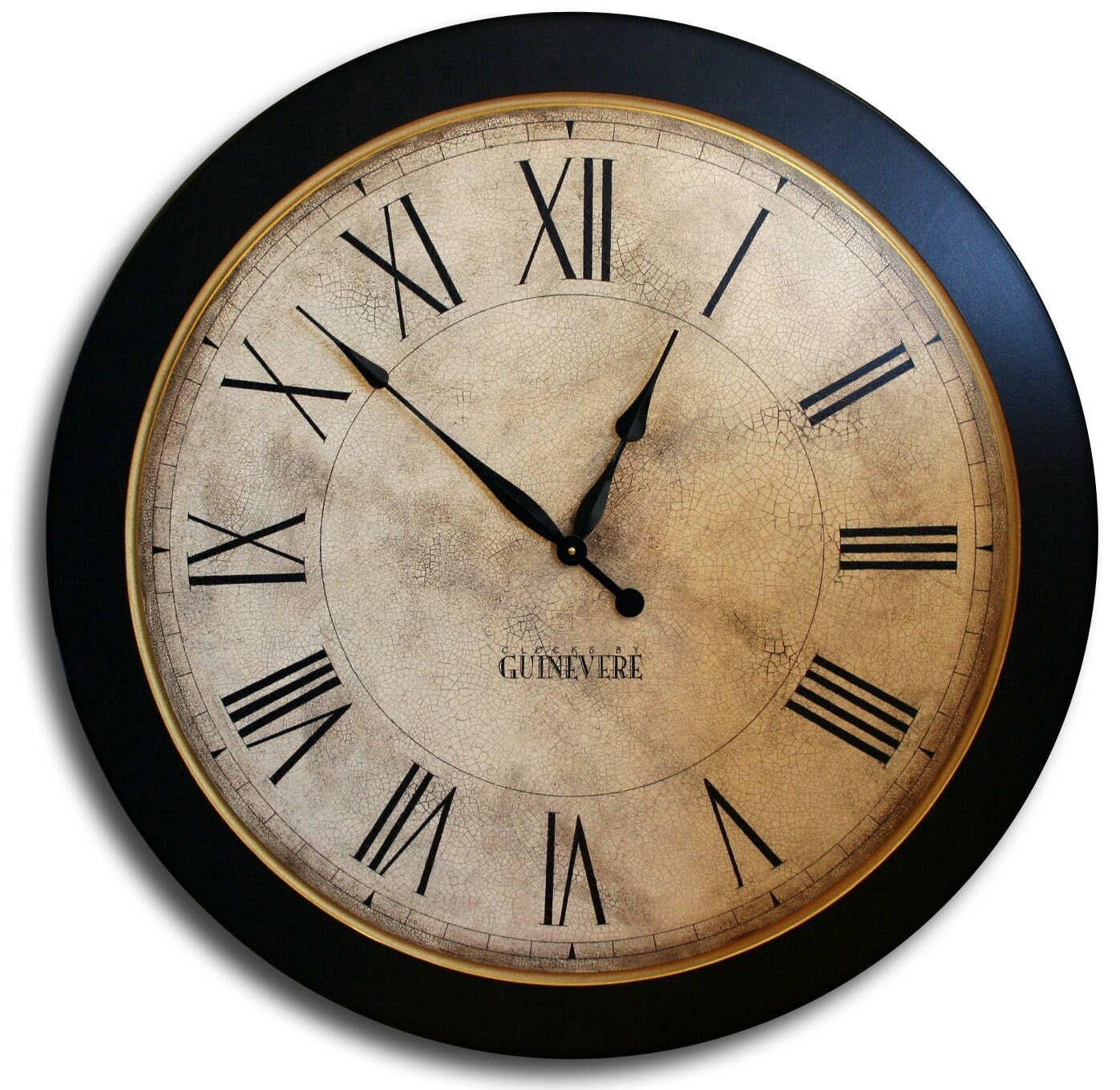 24in Large Antique Style Big Wall Clock Art Whiting Distressed