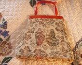 Vintage Tortise Shell Tapastry Handbag