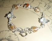 Silver Gold and Clear Swarovski Crystal Tea Pot Bracelet
