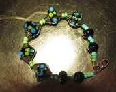 Good Golly Miss Molly Crazy Lampwork Bead Bracelet
