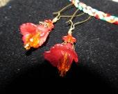 Blaze of Red Orcid Dangle Earrings