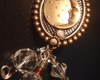 Vintage Steampunk Pin OVER The MOON over you Swarovski Crystals