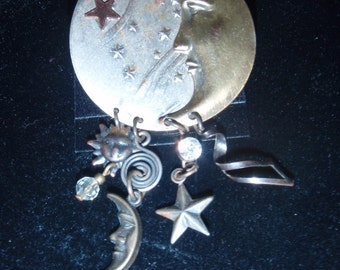 Magical Moon and Stars Dangle Brooch