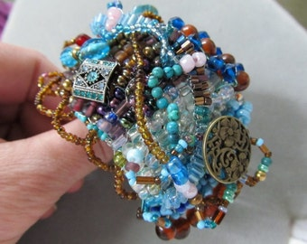 Abstract Beaded Cuff Bracelet in Aqua and Brown Tones/Altered Art/Steampunk