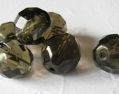 50% off with coupon code LASTCALL - Smokey Grey Czech glass faceted round 12mm (12 beads)