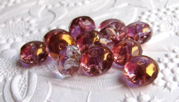 For Fay only -   Pink lilac rondelle Czech glass beads - gold washed  faceted 11mm x 7mm (18 beads)