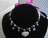All Dressed Up....... Teacup Doggie Necklace Pink, Black With Too Cute Bow....Free Shipping