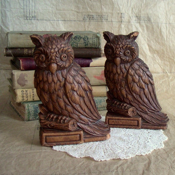 SALE - Syroco Wood Owl Bookends - Set of 2