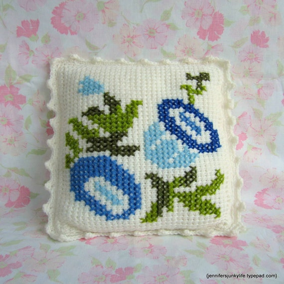 Granny Chic Pillow with Cross Stitched Blue Flowers