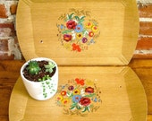 Vintage 40's Large Haskelite Wood LIthograph Trays- Set of 2