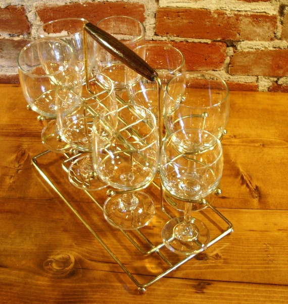 Vintage Mid-century Wine Glass Holder Caddy Rack