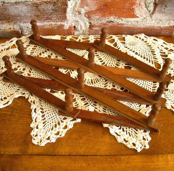 Vintage Accordion Wall Peg Rack- Coats, Crafts, Keys