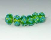 Flowery Lampwork Rondelles (6), Chartreuse Green, Turquoise