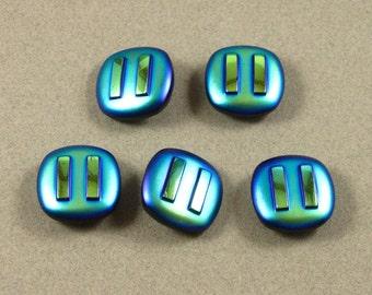 Iridescent Glass Buttons (5)