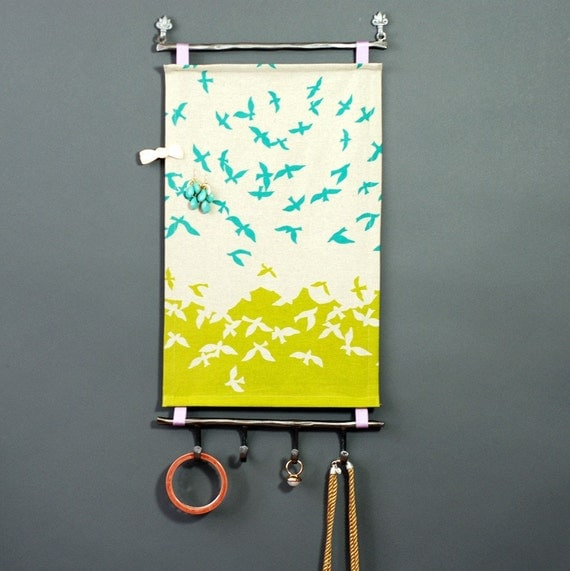SALE- 10% OFF --Earring Organizer & Jewelry Organizer (Jewelry Display, Necklace Holder) -  the birds w/ IRONWORK