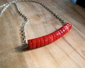 CLEARANCE Red Coral Curved Necklace