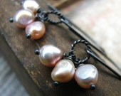 First Breath - freshwater pearls and sterling silver earrings