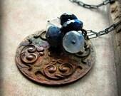 Spectrolite moonstone necklace vintage medallion - Keeper of Secrets
