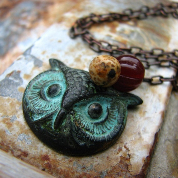 The Wise One - brass owl jasper and glass bead necklace