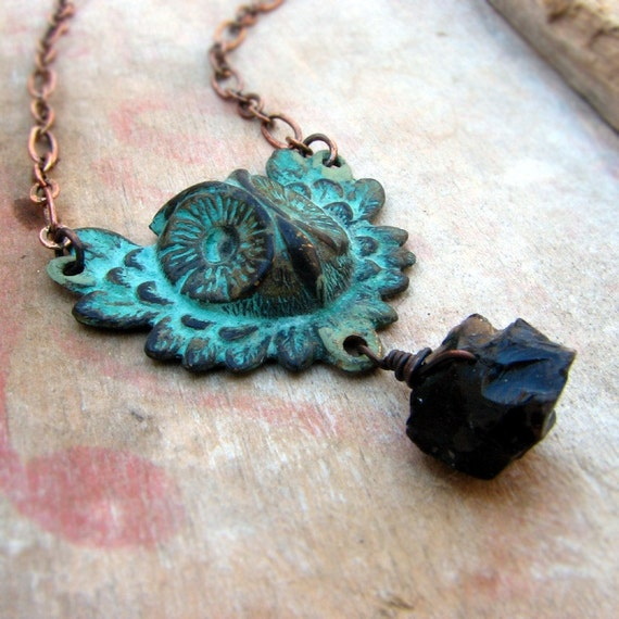 The Messenger - verdigris owl charm and chalcedony necklace