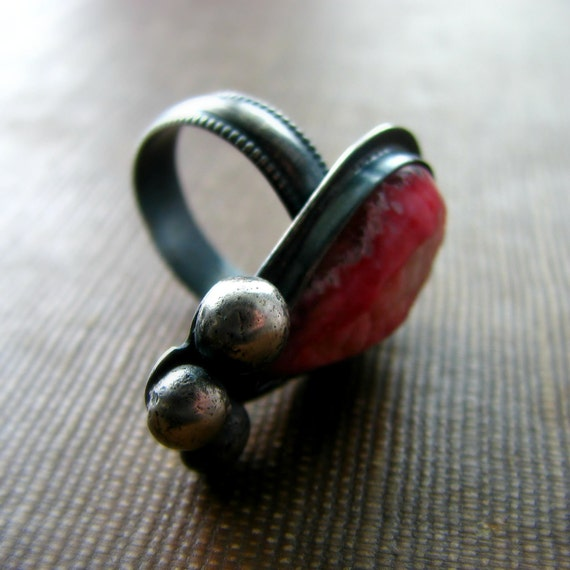 Jasper druzy ring metalwork oxidized sterling silver romantic rustic - Juliet