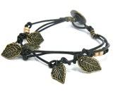Bronze Leaf Charm Multi Strand Leather Bracelet with Vintage Button Closure
