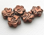 Copper flowers polymer clay bead set