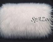White faux fur bridal hand muff wedding hand warmer feathery faux fur