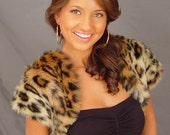 Leopard animal print faux fur short sleeve bolero jacket shrug stole shawl wrap coat cover up FBA426