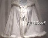 Childs Fur Trim Cloak Cape White satin with White Fur Trim