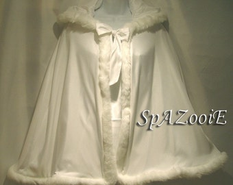 Childs Fur Trim Cloak Cape Ivory with Ivory faux Fur Trim