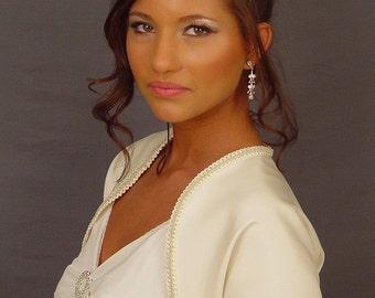Ivory satin wedding jacket bridal bolero shrug short sleeve trimmed