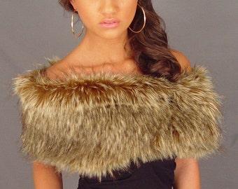 Brown wolf faux fur shrug stole shawl bridal wedding wrap bridesmaid cover up FW402