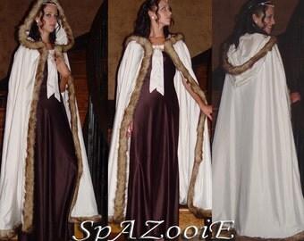Medieval faux fur fox trim satin cloak bridal renaissance full length cloak cape