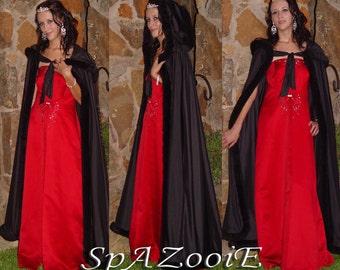Black fur trim satin cloak bridal renaissance wedding full length medieval cape