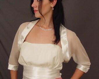 Ivory chiffon bridal bolero jacket wedding shrug / satin trim 3/4 sleeve