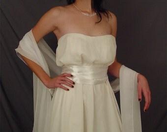Ivory chiffon bridal wrap wedding shawl cover up long shrug stole