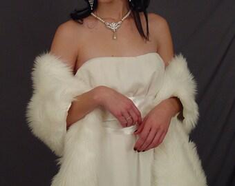 Ivory faux fur bridal wrap shawl wedding shrug stole feathery fur - 78 Inch length