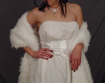 White faux fur bridal wrap shawl wedding shrug stole feathery fur - 78 Inch length