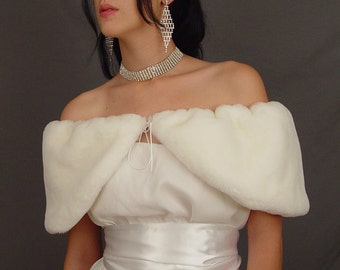 White beaver faux fur stole shrug wedding bridal shawl wrap cape