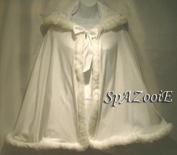 Childs Fur Trim Cloak Cape Ivory with Ivory faux Fur Trim