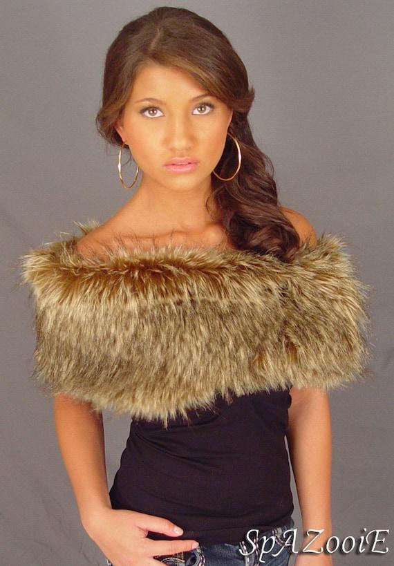 Brown wolf faux fur shrug stole shawl bridal wedding wrap - Polsterstoffe fur stuhle ...