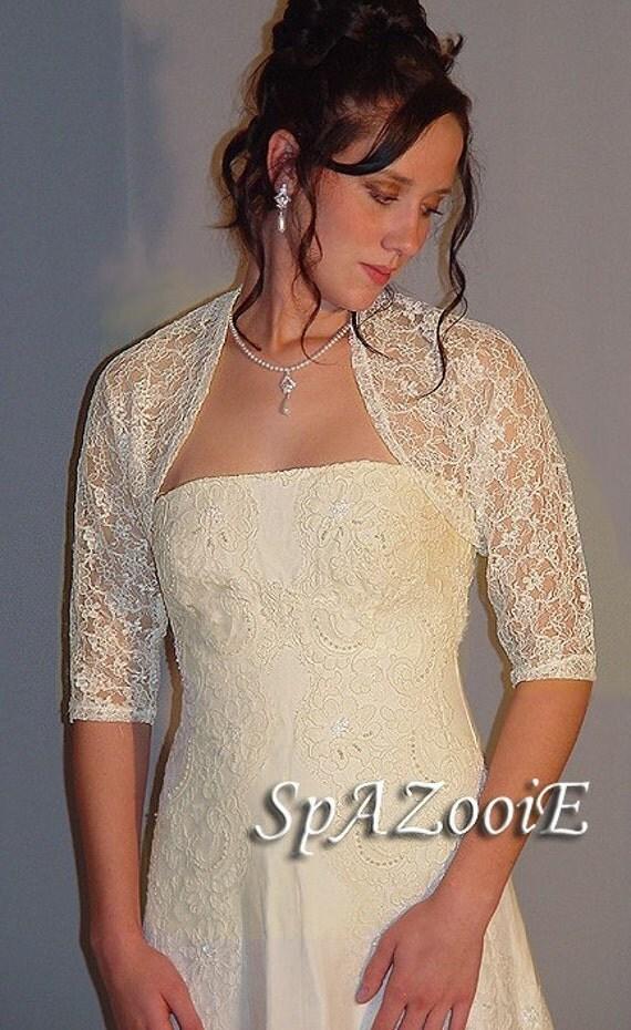 Ivory Plus Sizexl Xxl 3 4 Sleeve Lace Bolero By Spazooiebridal