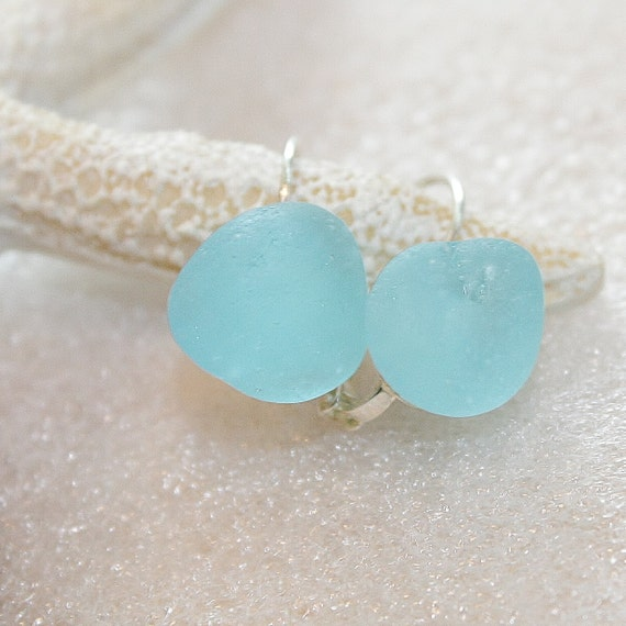 Go Green Aqua blue Sea glass Sterling Silver plated Earring closed hooks style