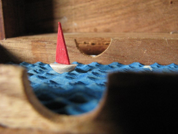 nautical automaton in carved wooden recipe box