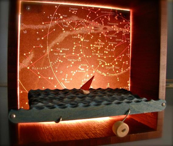 sailboat automaton nightlight in constellation box