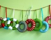 Miniature Yarn-Wrapped Wreath Ornaments