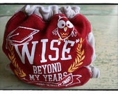 fitted diaper. upcycled. don't be a wise owl. cream snaps.
